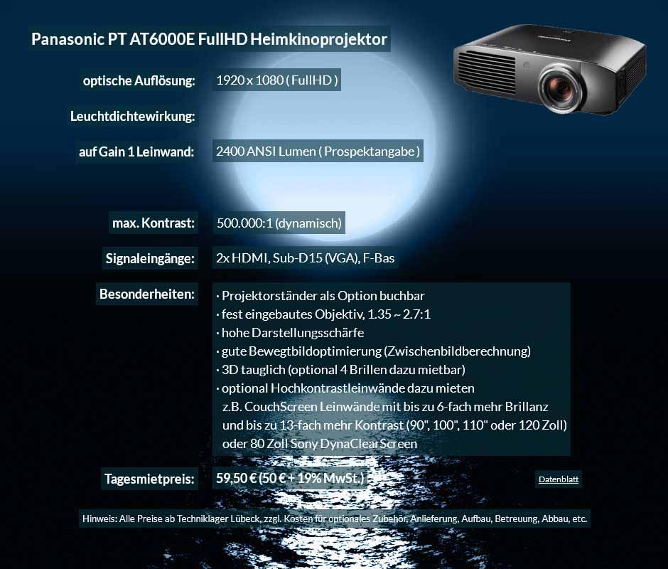 Mietangebot zum Beamer Ausleih Panasonic PT AT6000E Heimkinobeamer zum Tagesmietpreis von 70 Euro + Mehrwertsteuer