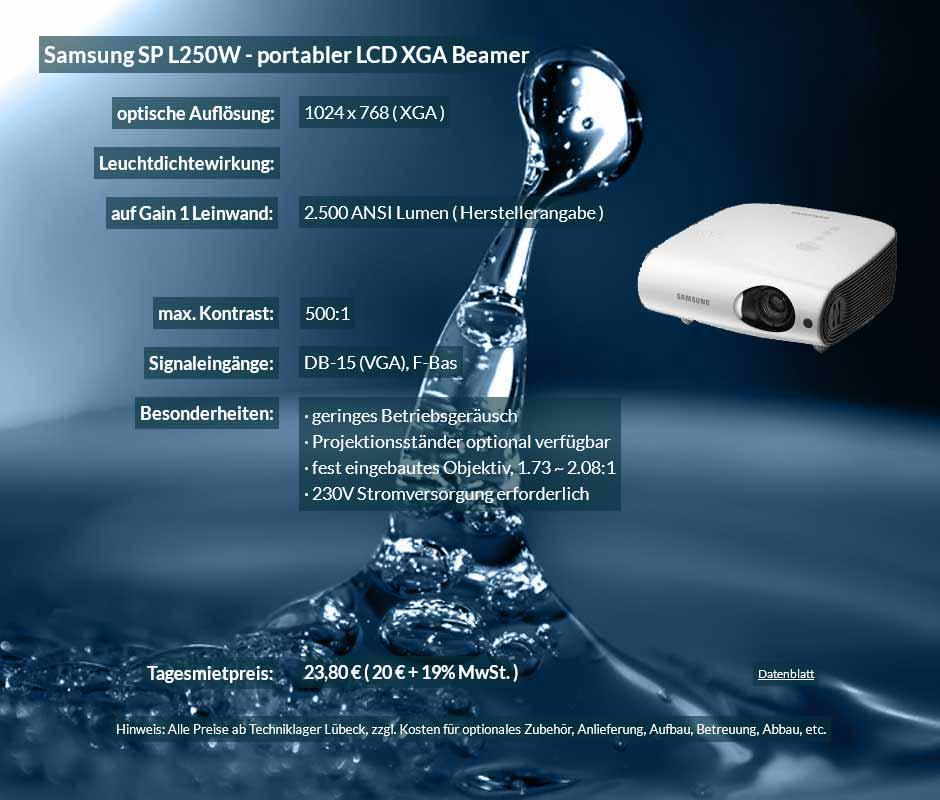 Inserat für DV Projektormiete Samsung SP L250W zu einem Mietpreis je Tag von 20 Euro + Mwsteuer