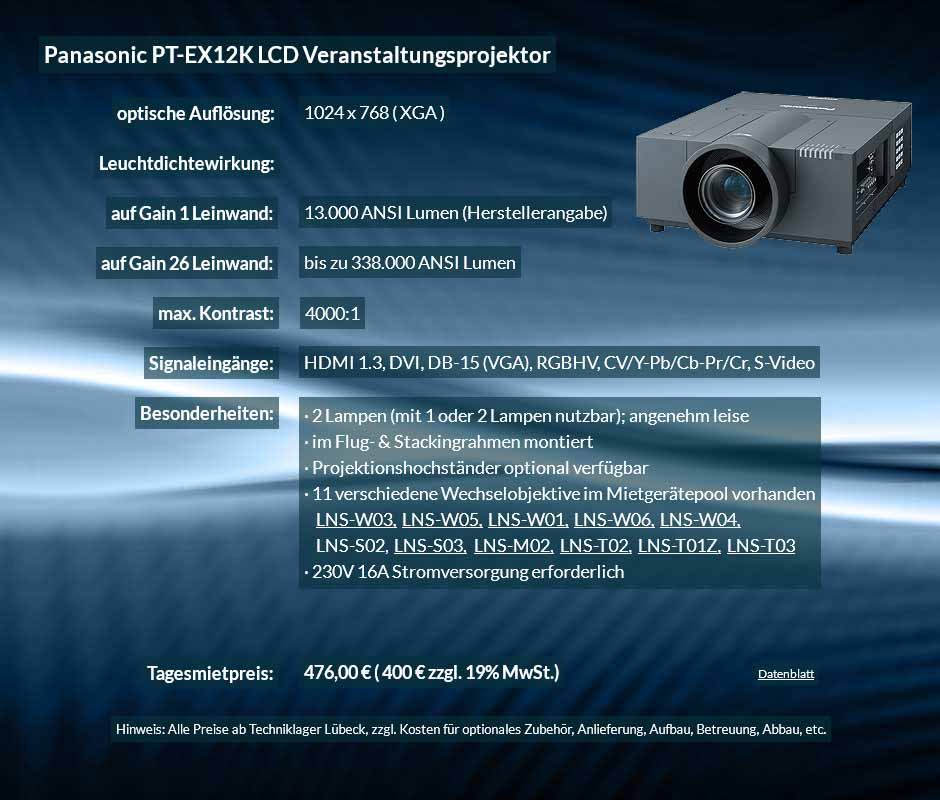 Anzeige für Projektor-Vermietung XGA Veranstaltungsprojektor mit 15.000 ANSI Lumen für 400 € zzgl. MwSt. inkl. Wechselobjektiv zur Auswahl LNS-W03, LNS-W05, LNS-W01, LNS-W06, LNS-W04, LNS-S02, LNS-S03, LNS-M01, LNS-M02, LNS-T02, LNS-T01