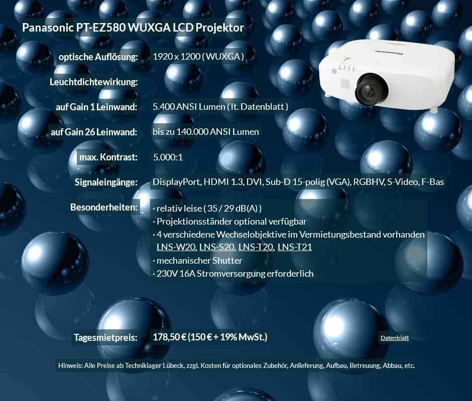 Projektorvermietung Panasonic PT EZ580