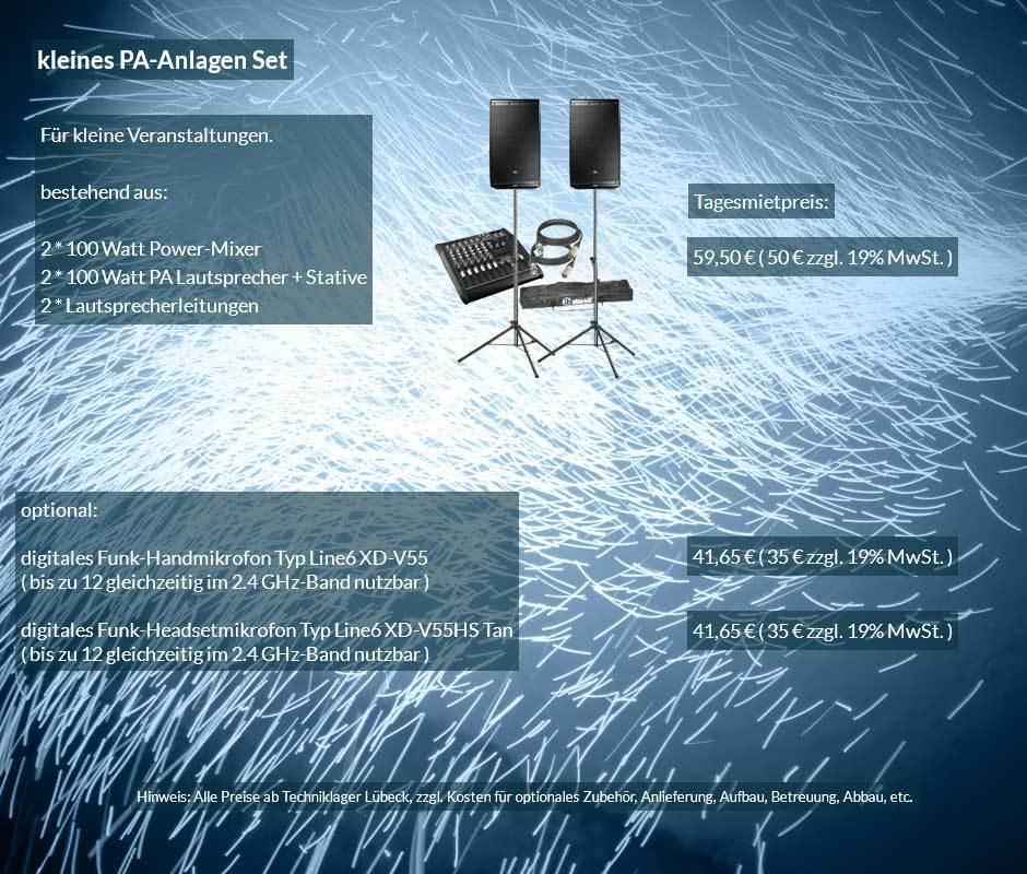 Mietofferte kleine PA Anlage mit Lautsprecher, Powermixer, Boxenstative, Kabelset ab 50 € netto täglich