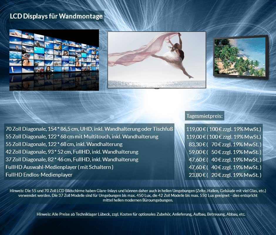 Mietofferte für LCD Monitor mit Wandhalterung, verschiedene Größen zu Tagesmietpreisen ab 50 € netto