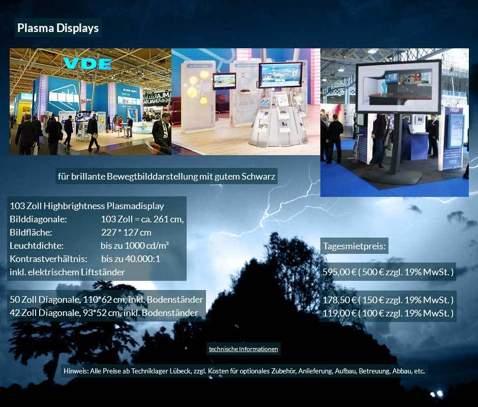 Mietangebot für Plasma Bildschirme von 42 bis 103 Zoll mit Tagesmietpreisen ab 100 € netto
