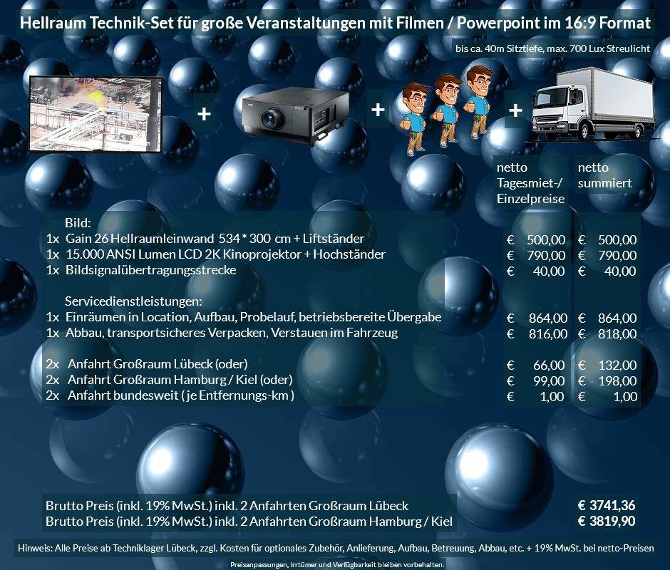 16:9 Veranstaltungstechnik-Mietangebot 2K / FullHD Projektoren 15000 ANSI Lumen + 534x300cm Gain 26 Hellraumleinwandleinwand + Anlieferung Aufbau Übergabe Abbau Rücktransport
