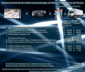 16:9 Veranstaltungstechnik-Mietangebot 2K / FullHD Projektoren 7500 ANSI Lumen + 356x200cm Gain 26 Hellraumleinwandleinwand + Anlieferung Aufbau Übergabe Abbau Rücktransport