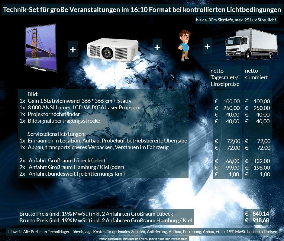 16:10 Veranstaltungstechnik-Mietangebot WUXGA LCD Laser Projektor 6500 ANSI Lumen + 366x366cm Gain 1 Stativleinwand + Anlieferung Aufbau Übergabe Abbau Rücktransport