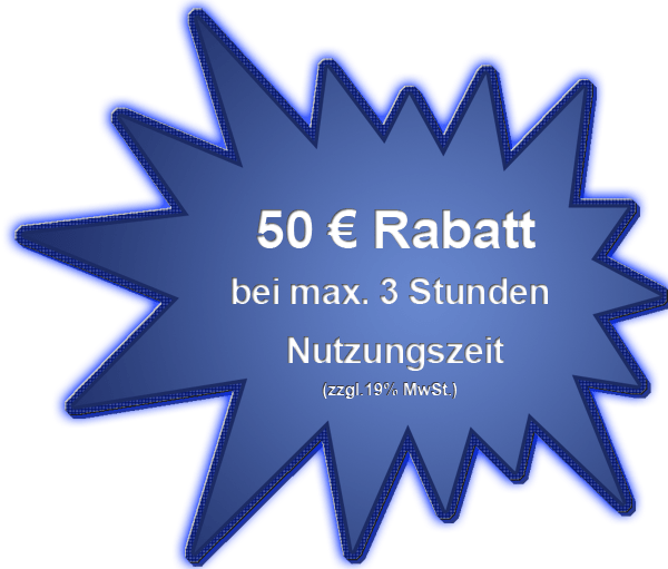 50 Euro Kurznutzungsrabatt bis max. 3 Std.