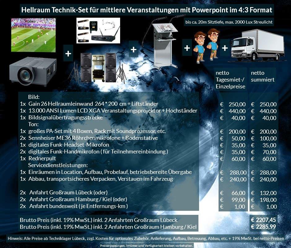4:3 Veranstaltungstechnik-Mietangebot XGA Projektor 65000 ANSI Lumen + 264x200cm Gain 26 Hellraumleinwand + PA Anlage mit Mikrofonen + Rednerpult + Anlieferung Aufbau Übergabe Abbau Rücktransport