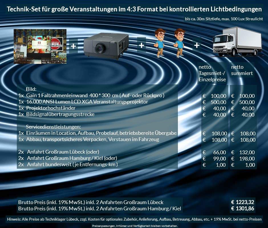 4:3 Veranstaltungstechnik-Mietangebot XGA Projektor 16000 ANSI Lumen + 400x300cm Gain 1 Faltrahmenleinwand Aufprojektion Rückprojektion + Anlieferung Aufbau Übergabe Abbau Rücktransport