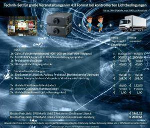 4:3 Veranstaltungstechnik-Mietangebot XGA Projektoren 32000 ANSI Lumen + 400x300cm Gain 1 Faltrahmenleinwand Aufprojektion Rückprojektion + Anlieferung Aufbau Übergabe Abbau Rücktransport