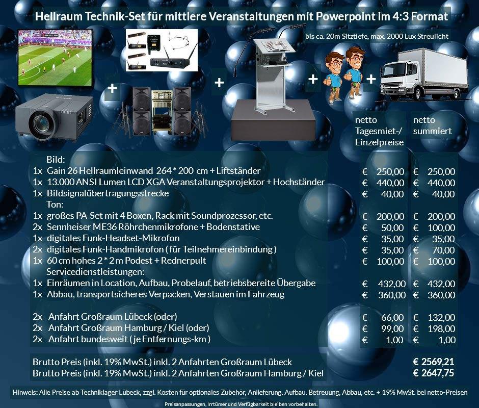 4:3 Veranstaltungstechnik-Mietangebot XGA Projektor 13000 ANSI Lumen + 264x200cm Gain 26 Hellraumleinwand + PA Anlage mit Mikrofonen + Rednerpult + 2x2m Podest + Anlieferung Aufbau Übergabe Abbau Rücktransport