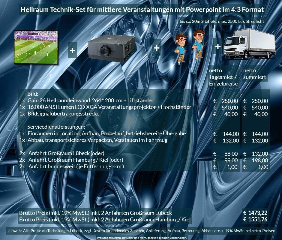 4:3 Veranstaltungstechnik-Mietangebot XGA Projektor 16000 ANSI Lumen + 264x200cm Gain 26 Hellraumleinwand + Anlieferung Aufbau Übergabe Abbau Rücktransport