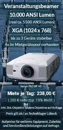 Angebot zum Beamer Ausleih: 10.000 ANSI Lumen XGA Veranstaltungsbeamer vom Typ Sanyo XF 45 inkl. großer Auswahl an Wechselobjektiven