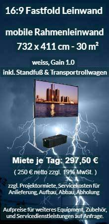 Mietangebot: Riesige Faltrahmenleinwand - 732 cm x 411 cm