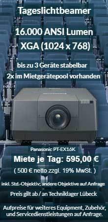 Mietangebot 16.000 ANSI Lumen XGA Hochleistungsprojektor Panasonic PT EX16K