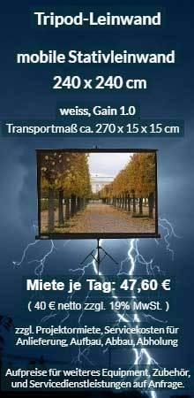 Mietangebot: Tripod Stativleinwand 240x240 cm