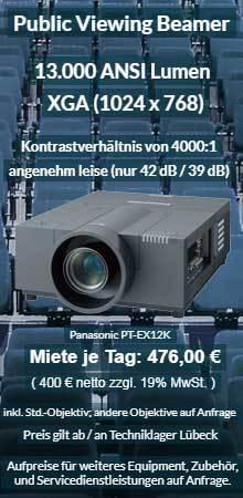 Anzeige für Beamervermietung XGA Veranstaltungsprojektor mit 13.000 ANSI Lumen für 400 € zzgl. MwSt. inkl. Wechselobjektiv zur Auswahl LNS-W03, LNS-W05, LNS-W01, LNS-W06, LNS-W04, LNS-S02, LNS-S03, LNS-M01, LNS-M02, LNS-T02, LNS-T01